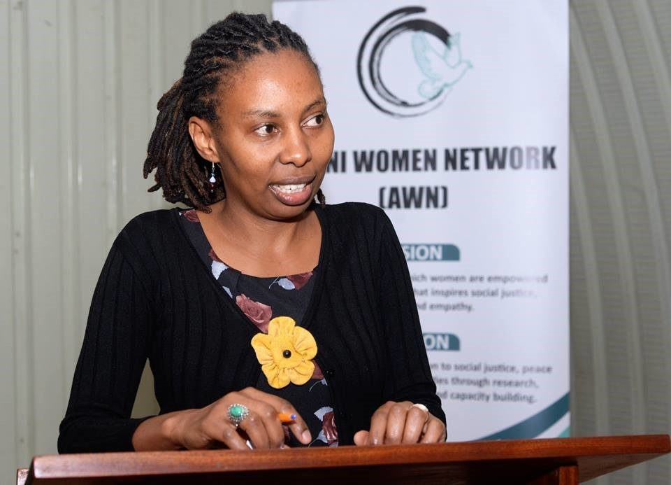 Regina Mutiru making during her presentation at the first YWLP