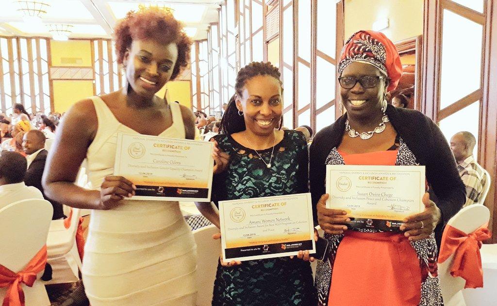 From Left: Caroline Odera, Regina Mutiru and Susan Owiro-Chege displaying their awards.