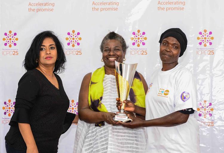 Nairobi County Woman Representative Esther Passaris, UNFPA Executive Director Dr. Natalia Kanem and Pamela Kadenyi